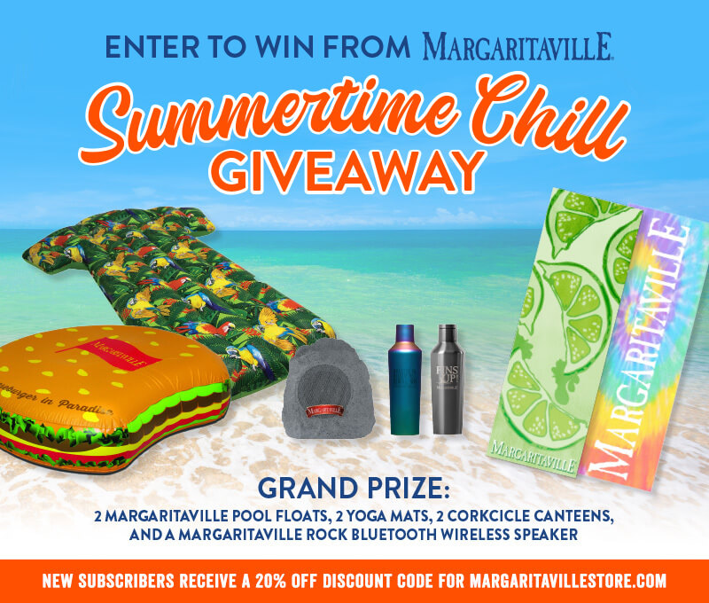 Enter To Win - Margaritaville's Summertime Chill Giveaway - Grand Prize: 2 Margaritaville Pool Floats, 2 Yoga Mats, 2 Corkcicle Canteens And A Margaritaville Rock Bluetooth Wireless Speaker